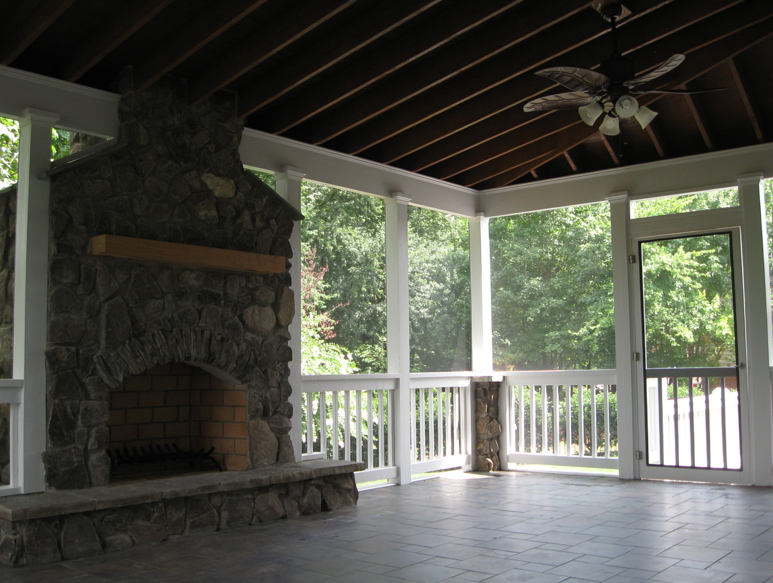 screen porch fireplace.  Fireplace Home Design Ideas