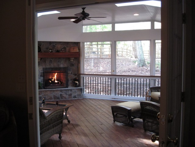 Screened Porch With Corner Fireplace