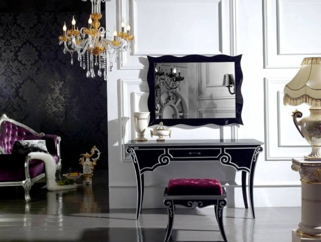 vanity table with lighted mirror and bench home design ideas