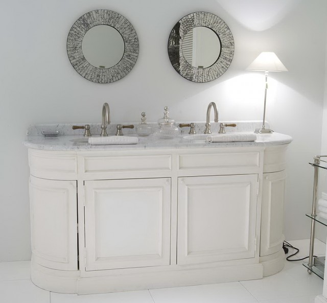 White Bathroom Vanity With Grey Top