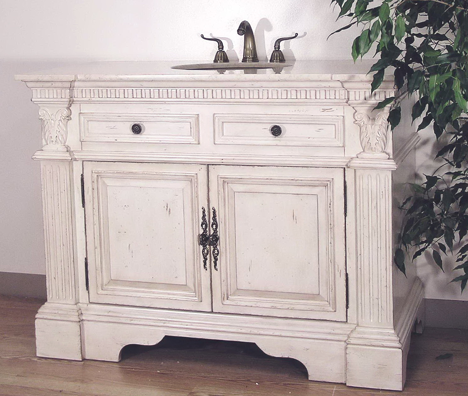 White Distressed Bathroom Vanity Home Design Ideas