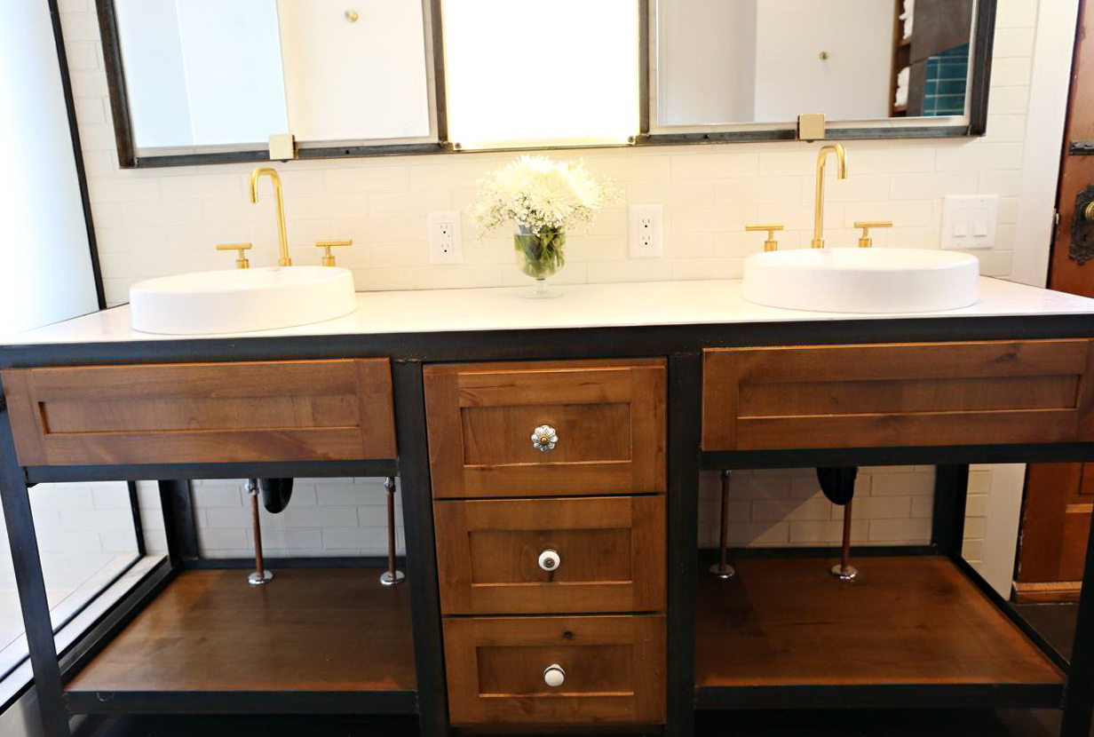 Wood And Metal Bathroom Vanity | Home Design Ideas