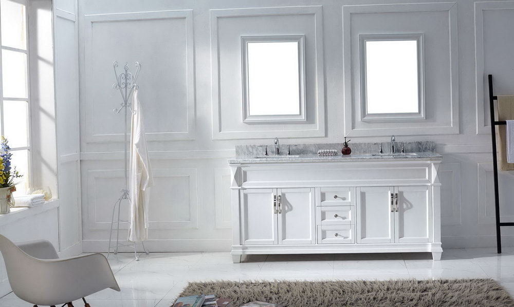 White Double Sink Vanity 72