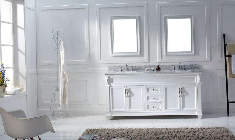 White Double Sink Vanity 72