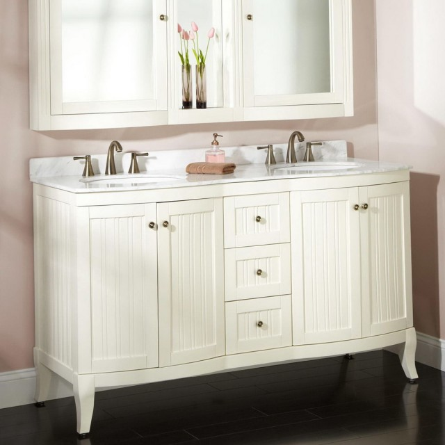White Double Sink Vanity Top