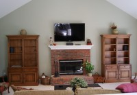 Fireplace With Tv Above And Bookshelves