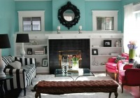 Painted Bookshelves Around Fireplace