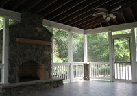 Screened In Porch Designs With Fireplace