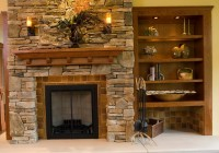 Stacked Stone Fireplaces With Bookshelves